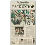 "plaque mounted ""Back on Top"" Globe newspaper cover"