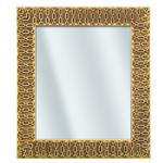 Distressed-Gold Panel with Gold-Chain Relief Wood Mirror - 14½x16½"