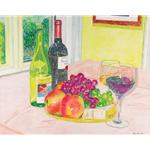 Artwork of Wine and Fruit by Jerry Cohen