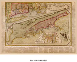 Map Of New York Pa.1821 Map Of New York Massachusetts And Pennsylvania Frame It
