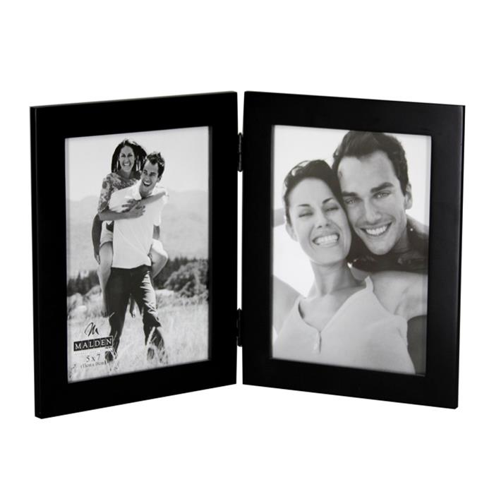 malden international style 673 57dv 5x7 black wood double vertical ready made frame frame it - Double 5x7 Picture Frame