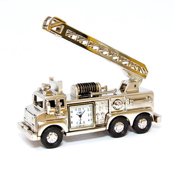 Sanis Fire Truck Silver Desk Clock St9722 Tr