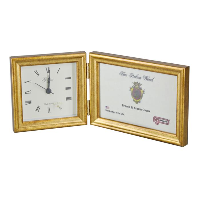 F.G. Galassi Gold 4x6 Hinged Photo Frame and 4x4 Desk Clock - style CF13744 | Frame It Waban Gallery