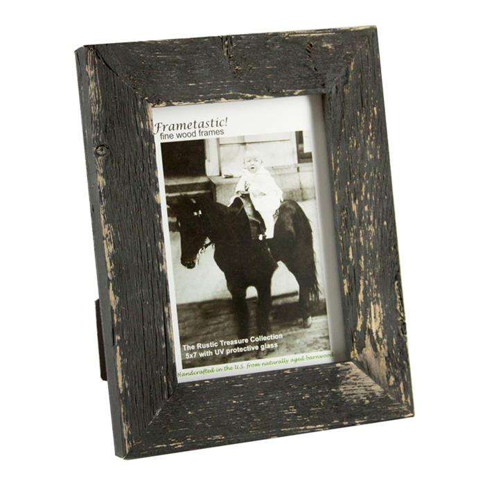 Frametastic 8x10 Distressed Charcoal Black Wood Ready Made Frame