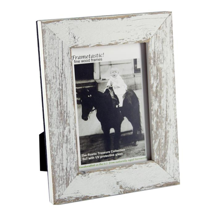 Frametastic 4x6 authentic white distressed wood ready made frame ...