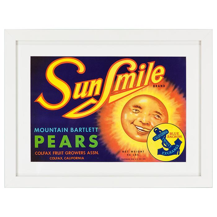 framed sun smile pears advertising poster framed