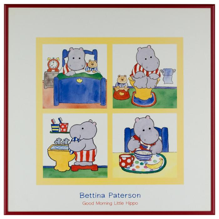 "framed artwork ""Good Morning Little Hippo"" by Bettina Paterson"