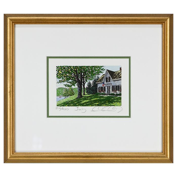 "framed artwork ""July"" by Caroll Collette"