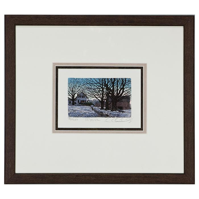 "framed artwork ""March II"" by Caroll Collette"