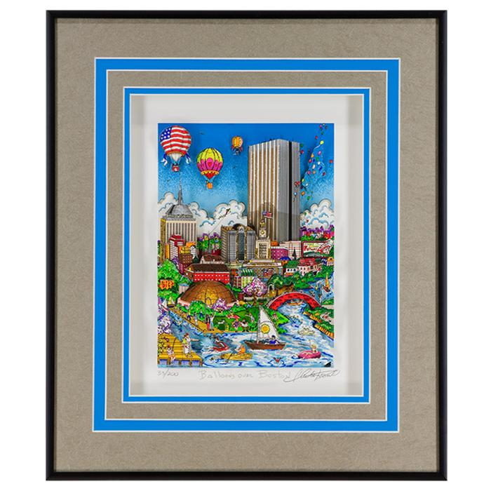 framed artwork Balloons Over Boston by Charles Fazzino