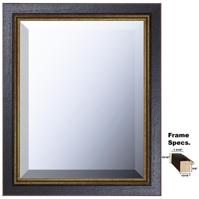 Newton Series Framed Mirror Style 106b Black Gold Aged Wood Frame