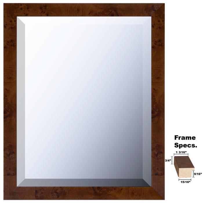 Newton Series Framed Mirror Style 262 Dark Burl Wood Frame In Many Sizes It
