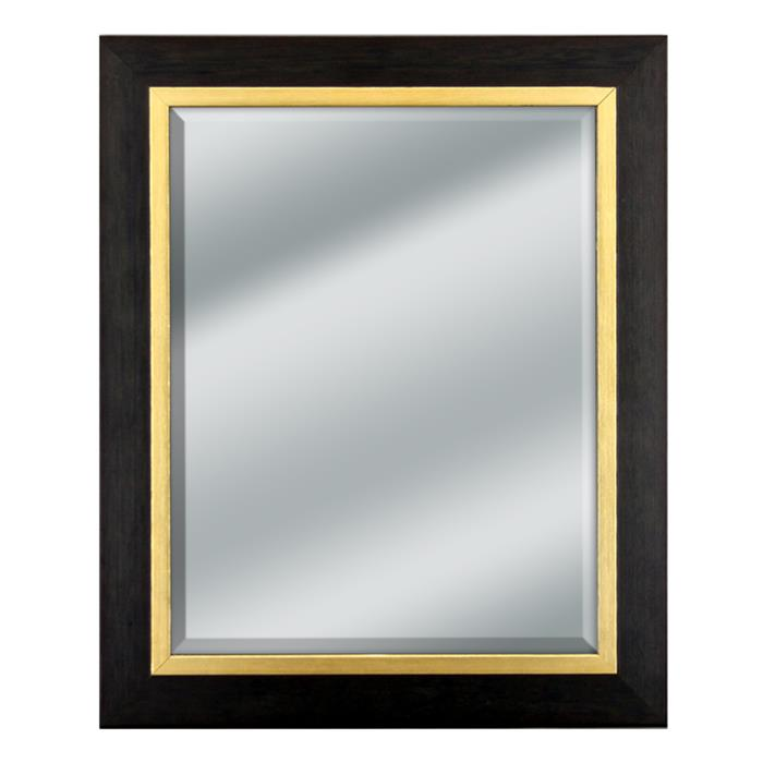Black Wood Mirror with Gold Trim - 14x14\