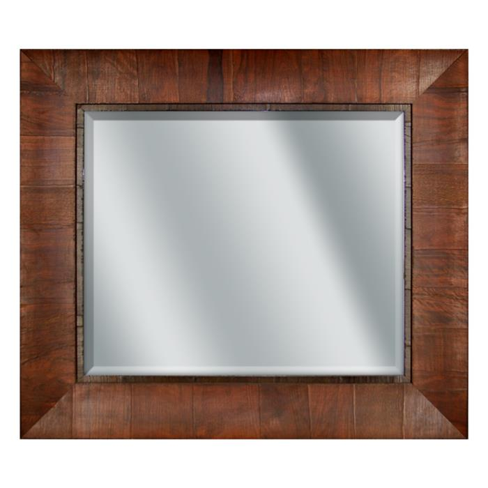 Curved Cross-Grain Cognac Wood Mirror - 32¾x28¾"