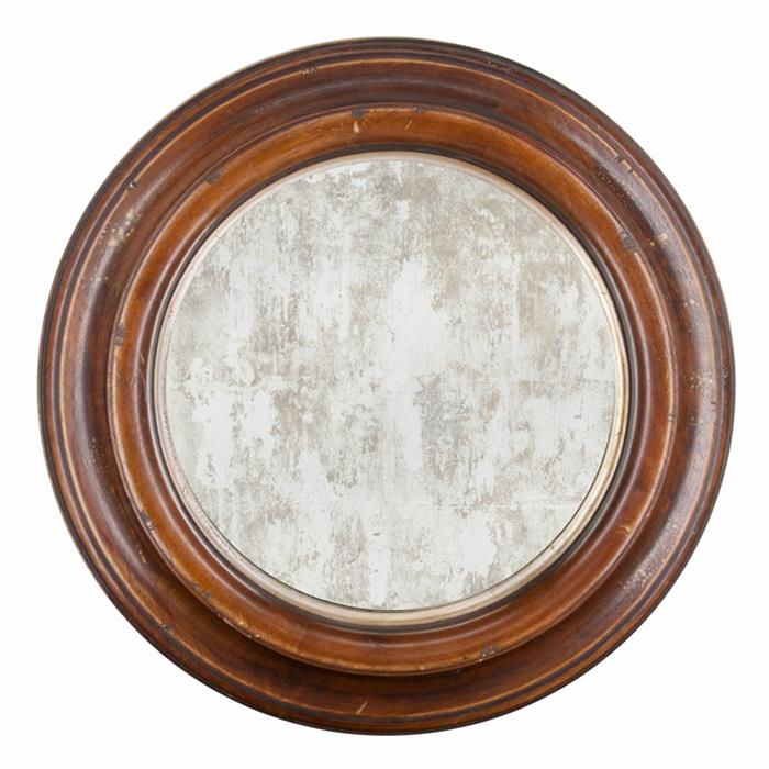 Distressed Framed 17 X Round Mirror With Aged Wood And Glass Frame It Waban Gallery