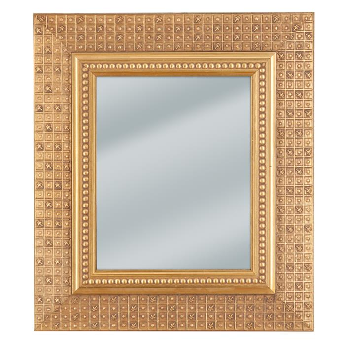 Decorative checkered gold framed mirror 13 3/4 x 15 3/4  | Frame It Waban Gallery