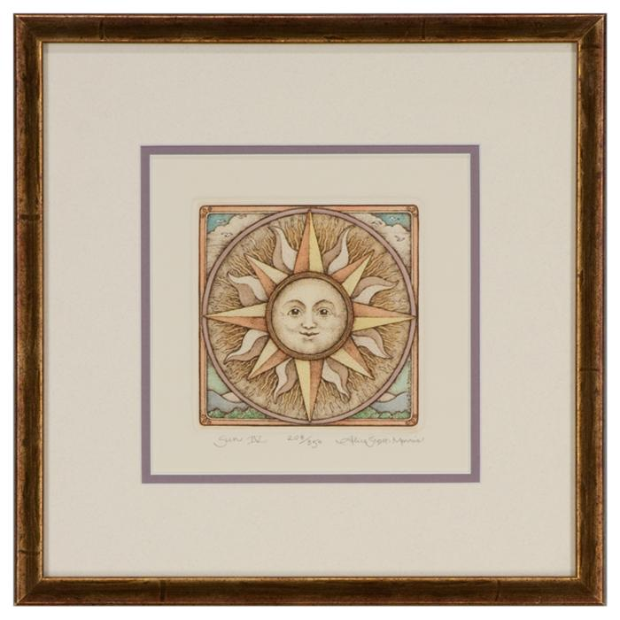 "framed artwork ""Sun IV"" by Alice Scott-Morris"